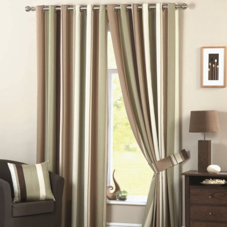 Whitworth Striped Fully Lined Eyelet Curtains - Green