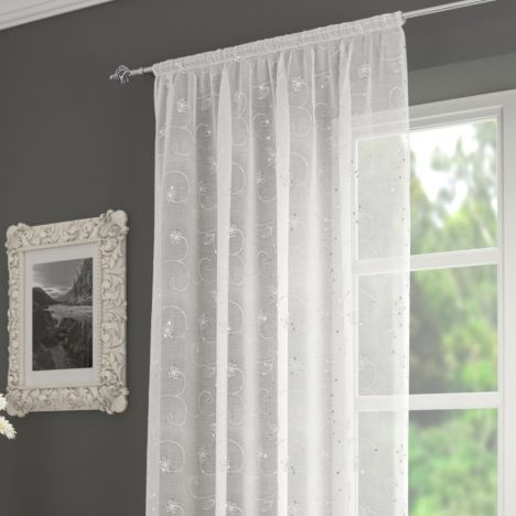 Ariana Floral Sequin Voile Slot Top Curtain Panel - White