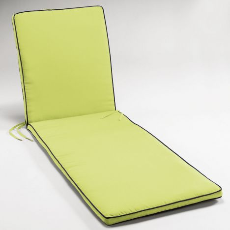 Garden Two-Tone Sunbathing Lounger Cushion - Lime Green & Charcoal Grey