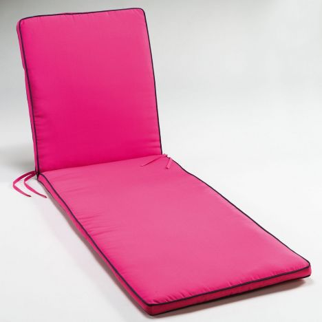 Garden Two-Tone Sunbathing Lounger Cushion - Fuchsia Pink & Charcoal Grey