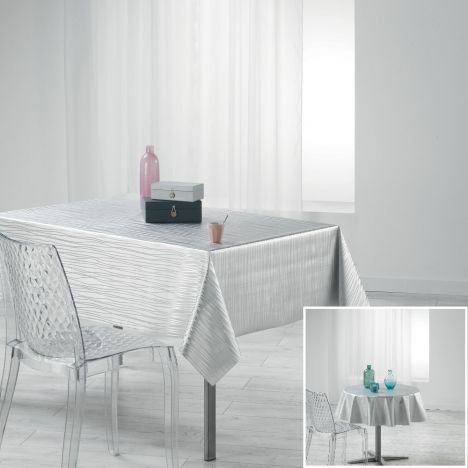 Wavy Metallic Look PVC Tablecloth - White