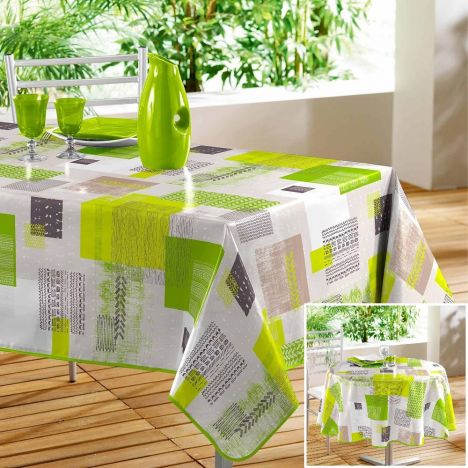 Carrea Printed PVC Tablecloth - Lime Green