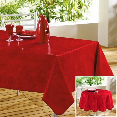 Beton Cire Plain PVC Tablecloth with Marble Effect - Red