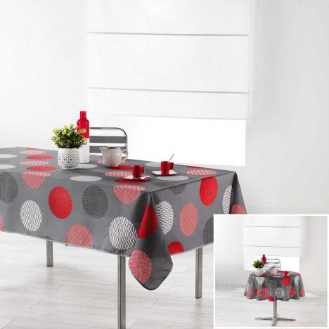Odaly Tablecloth with Printed Circles - Grey & Red