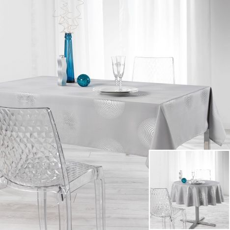 Atome Silver Printed Tablecloth - Grey
