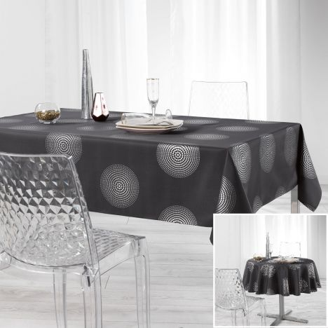 Atome Silver Printed Tablecloth - Charcoal Grey