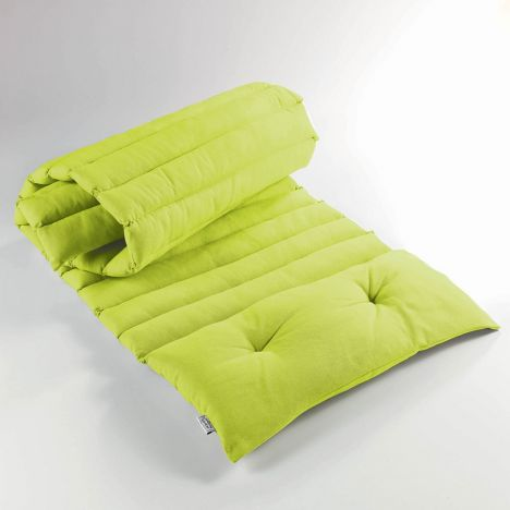 Pacifique Plain 100% Cotton Sunbathing Lounger Cushion - Lime Green
