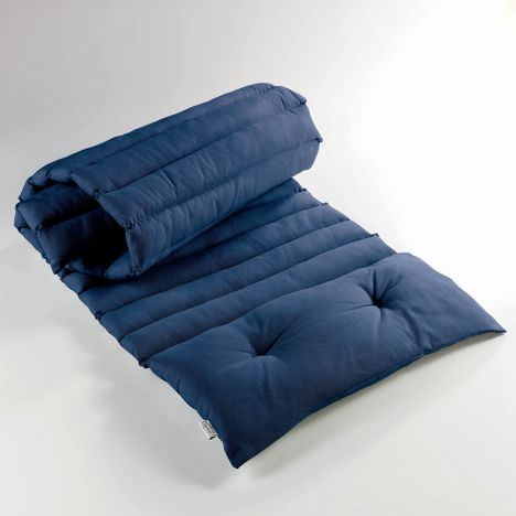 Pacifique Plain 100% Cotton Sunbathing Lounger Cushion - Navy Blue