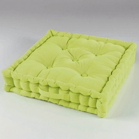 Pacifique Plain 100% Cotton Floor Chair Booster Cushion - Lime Green