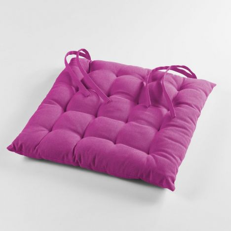Pacifique Plain 100% Cotton Quilted Seat Pad - Fuchsia Pink