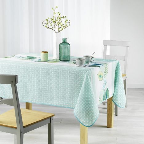 Daria Geometric Printed Tablecloth - Mint Blue