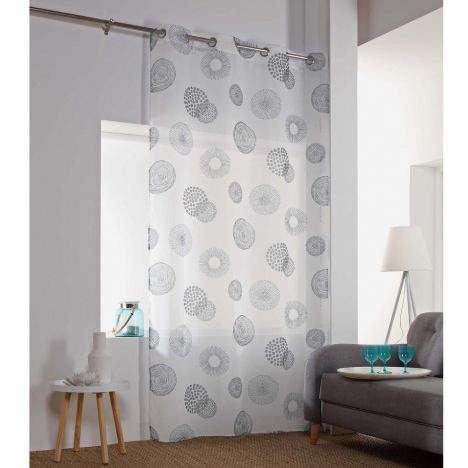 Vega Printed Eyelet Voile Curtain Panel - Charcoal Grey