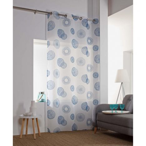 Vega Printed Eyelet Voile Curtain Panel - Indigo Blue