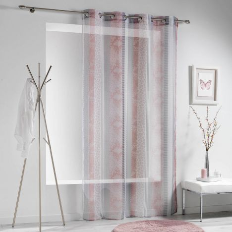 Serpentine Printed Eyelet Voile Curtain Panel - Pink