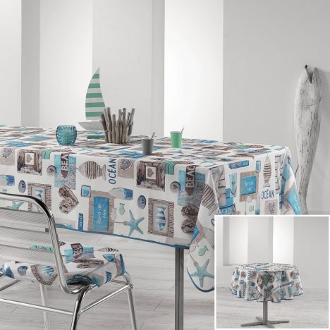 Oceany Nautical Printed Tablecloth - Blue & Natural