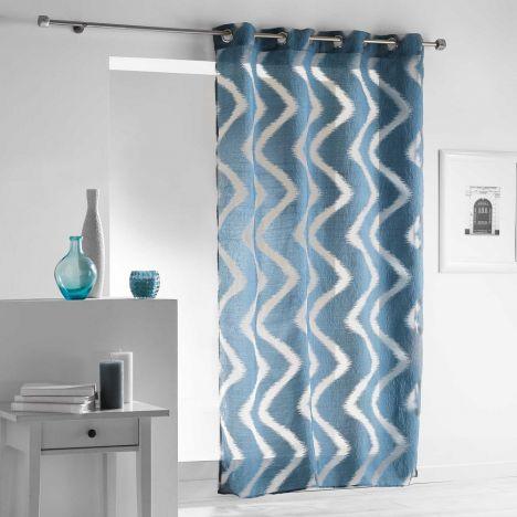 Zappy Wavy Striped Eyelet Voile Curtain Panel - Blue
