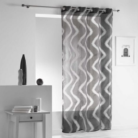 Zappy Wavy Striped Eyelet Voile Curtain Panel - Charcoal Grey