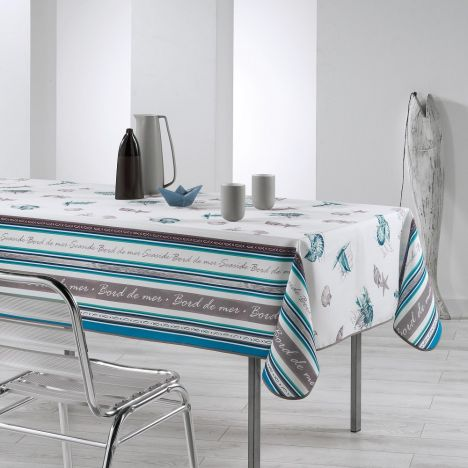 Seaside Printed Tablecloth - Blue