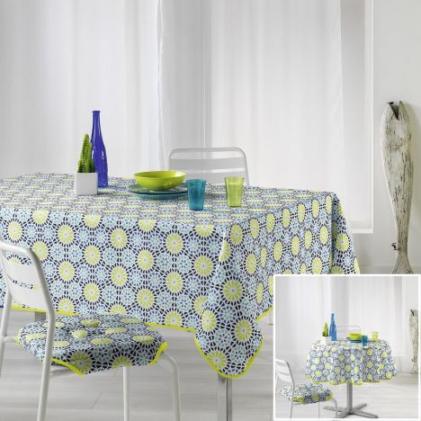 Kaleida Printed Tablecloth - Lime Green & Blue