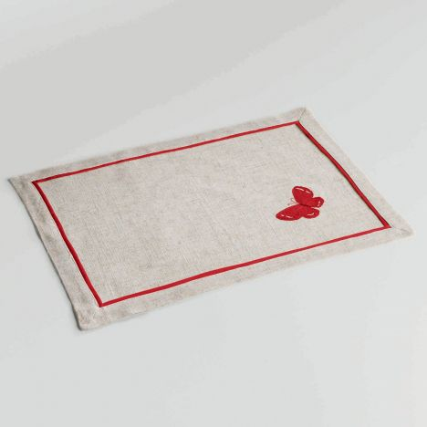 Opaline Embroidered Linen Look Placemat - Red