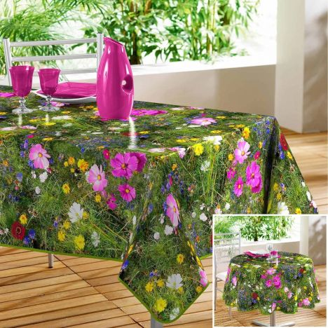 Champ Fleuri Floral PVC Tablecloth - Green & Purple
