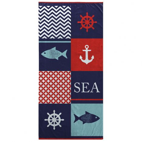 Bright and Colourful 100% Cotton Beach Towel - Nautical
