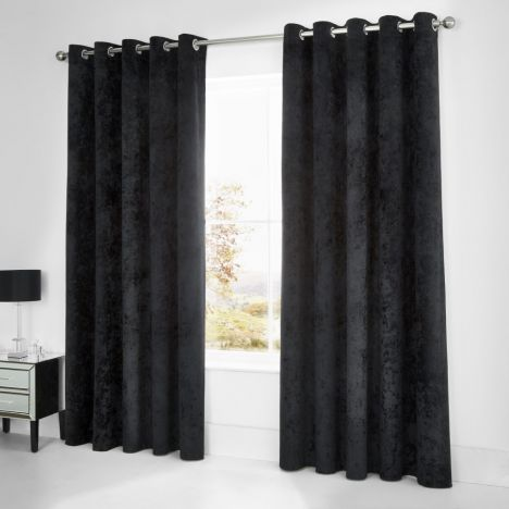 Catherine Lansfield Crushed Velvet Curtains Black