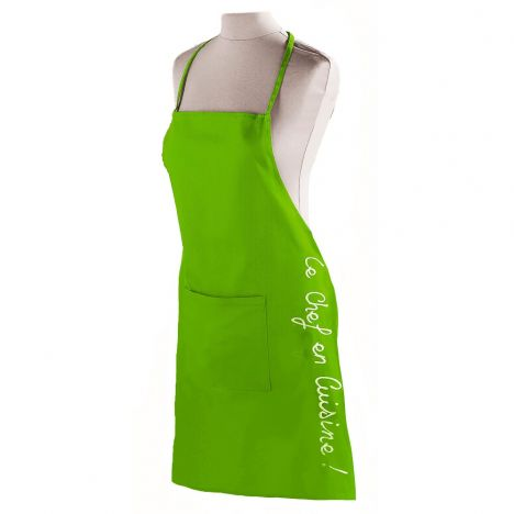Cuistot 100% Cotton Apron with Pocket - Green