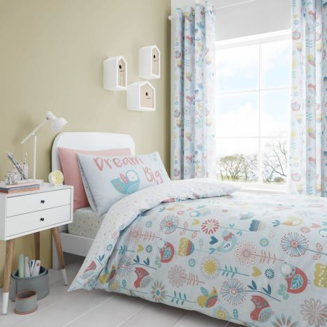 Catherine Lansfield Kids Little Birds Duvet Cover Set - Pastel Multi