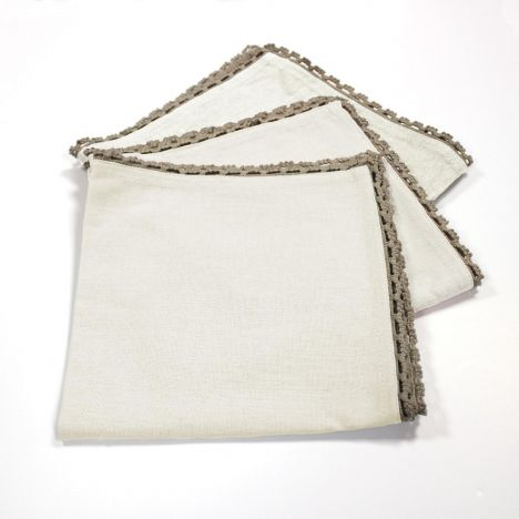 Femina Set of 3 Plain 100% Cotton Table Napkins with Lace Edges - Cream