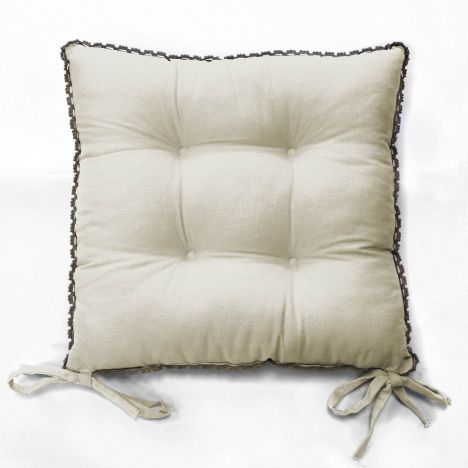 Femina Quilted Chair Seat Pad with Ties - Cream