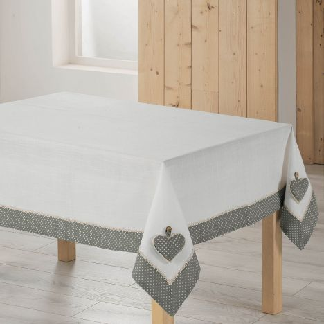 Heart Polkadot Tablecloth with Lace - White & Grey
