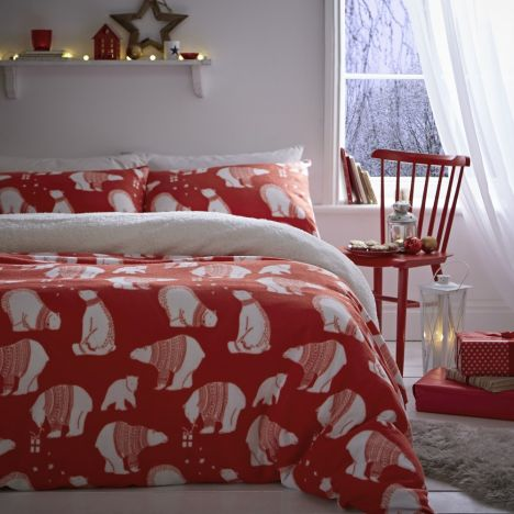 Catherine Lansfield Polar Bear Fleece Duvet Cover Set - Red