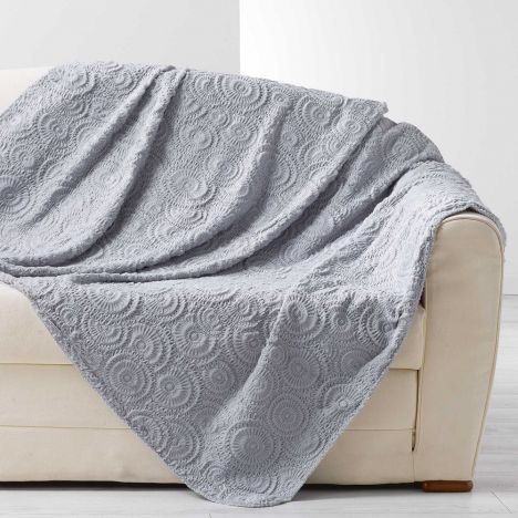 Eloise Embossed Fur Effect Throw - Grey
