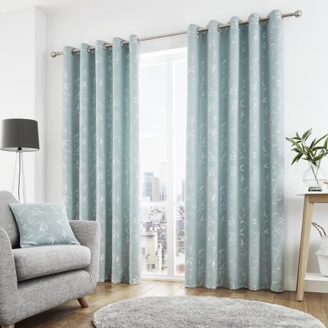 Sagano Jacquard Fully Lined Eyelet Curtains - Duck Egg Blue