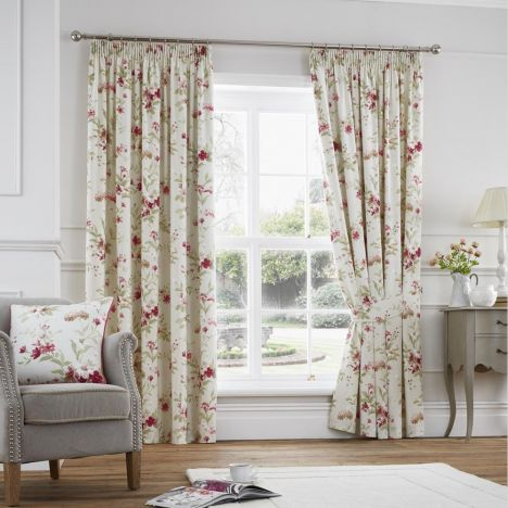 Jeannie Floral Trail Fully Lined Tape Top Curtains - Red