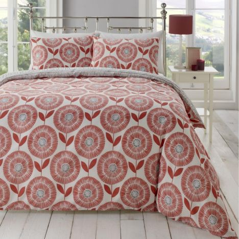 Ada Scandi Floral Duvet Cover Set - Spice Red