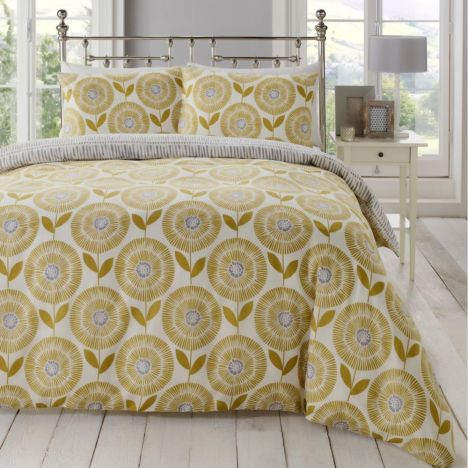 Ada Scandi Floral Duvet Cover Set - Ochre Yellow