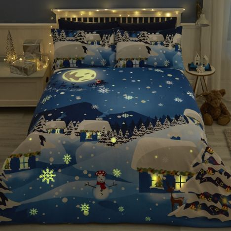 Christmas Glow in the Dark Duvet Cover Set - Multi