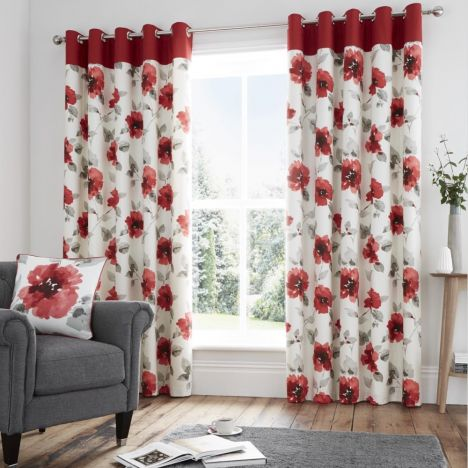 Adriana Floral Fully Lined Eyelet Curtains - Red