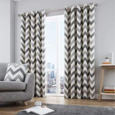 Chevron Fully Lined Eyelet Curtains - Grey