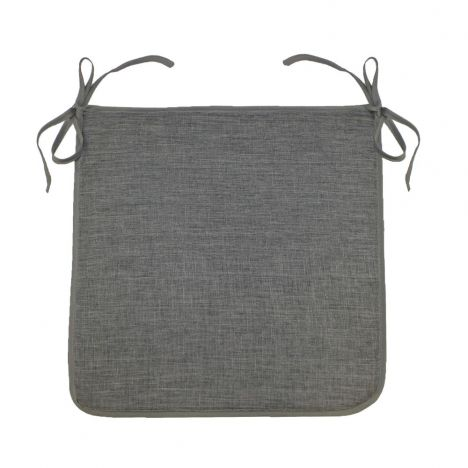 Chambray Newton Plain Tie On Chair Seat Pad - Charcoal Grey