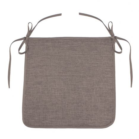 Chambray Newton Plain Tie On Chair Seat Pad - Beige