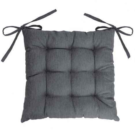 Chambray Newton Quilted Chair Seat Pad - Charcoal Grey