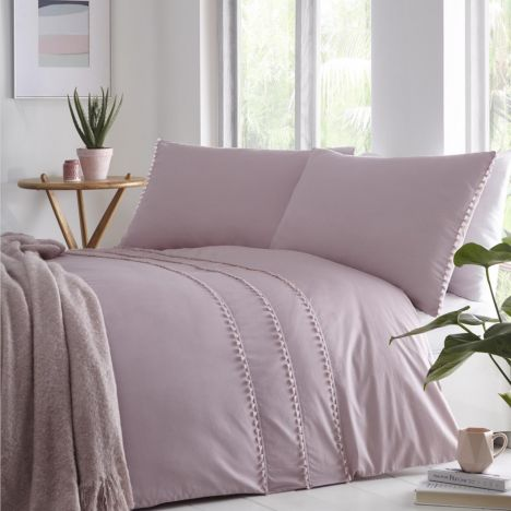 Tassel Trim Duvet Cover Set - Blush Pink