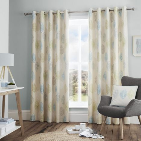 Skandi Leaf Fully Lined Eyelet Curtains - Teal Blue