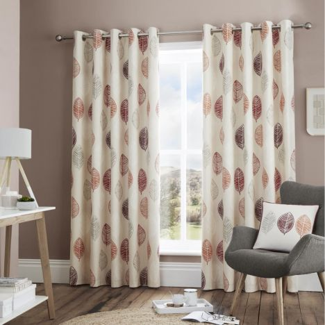 Skandi Leaf Fully Lined Eyelet Curtains - Red