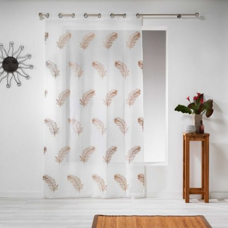 Douce Feather Embroidered Eyelet Voile Curtain Panel - Taupe