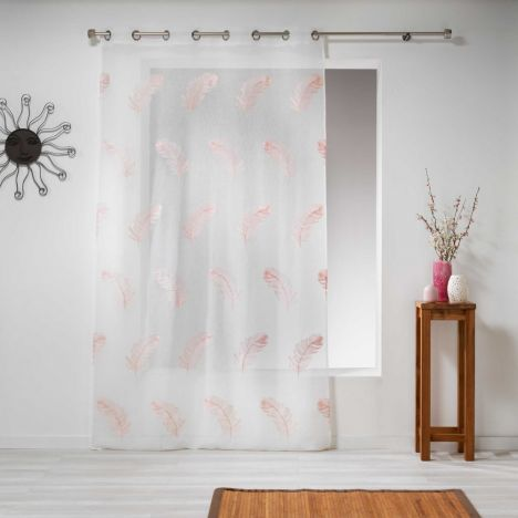Douce Feather Embroidered Eyelet Voile Curtain Panel - Candy Pink