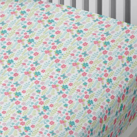 Woodland Fox Kids Floral Fitted Sheet - Duck Egg Blue